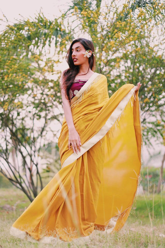 Mustard Saree/Plum Foil Print Blouse - The Ethnic Fix - Dubai - UAE