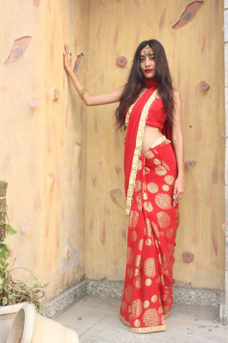 Red Half and Half Saree - The Ethnic Fix - Dubai - UAE