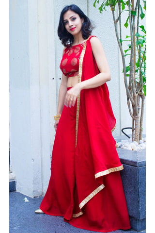Red Palazzos with Pre-stitched Dupatta Top - The Ethnic Fix - Dubai - UAE
