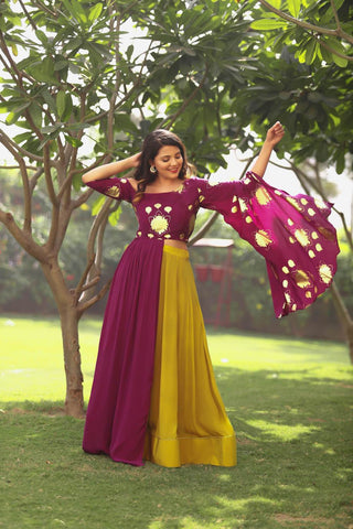 Plum One Shoulder Top/Mustard Lehenga - The Ethnic Fix - Dubai - UAE
