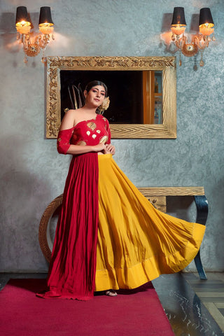 Red One Shoulder Top/Mustard Lehenga - The Ethnic Fix - Dubai - UAE