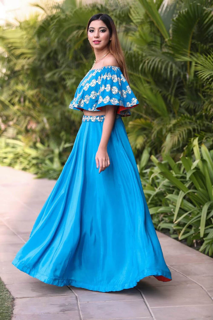 Blue Off Shoulder Lehenga - The Ethnic Fix - Dubai - UAE