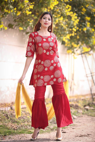 Red Garara set - The Ethnic Fix - Dubai - UAE