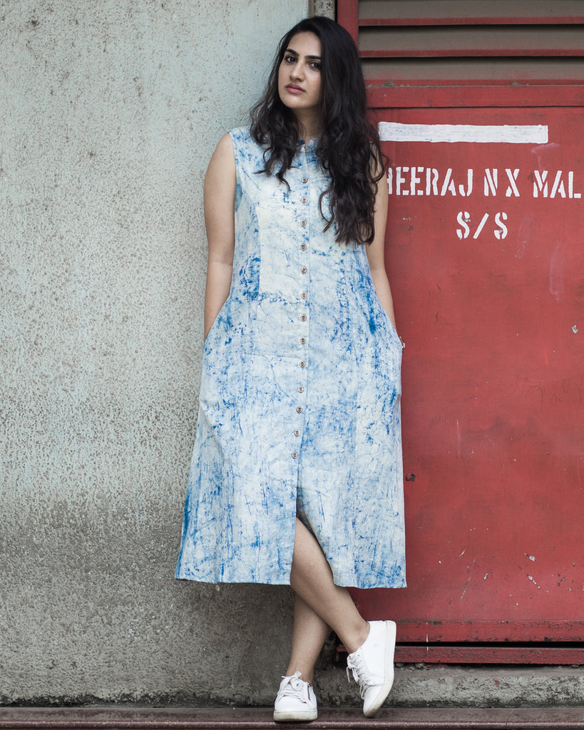 Indigo Birdie Shirt Dress