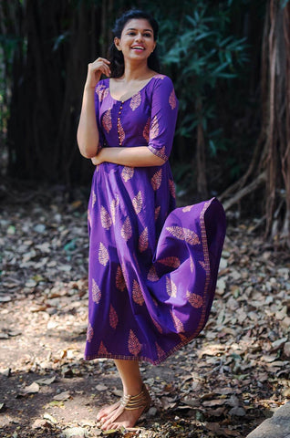 Purple Gold Boota Dress - The Ethnic Fix - Dubai - UAE