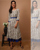 Blue Ruffled Cotton Jute Dress - The Ethnic Fix - Dubai - UAE