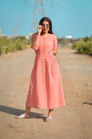 Peach Orchid Maxi Dress - The Ethnic Fix - Dubai - UAE