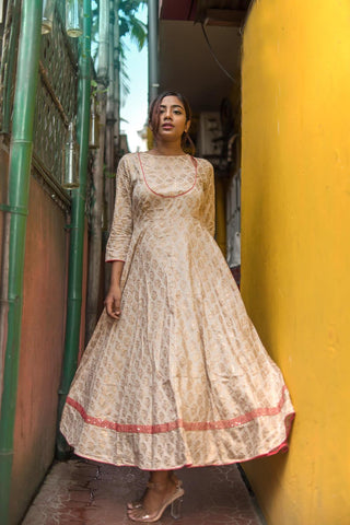 Royal Gold Fit & Flare Dress - The Ethnic Fix - Dubai - UAE