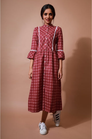 Red Checks Shirt Dress - The Ethnic Fix - Dubai - UAE