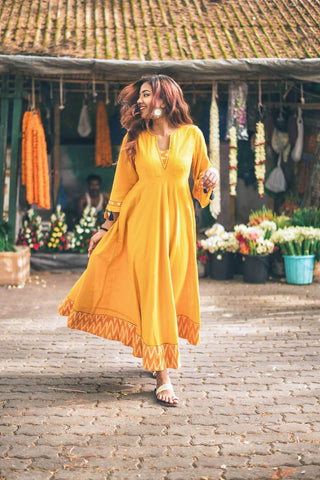 Marigold Fit & Flare Dress - The Ethnic Fix - Dubai - UAE