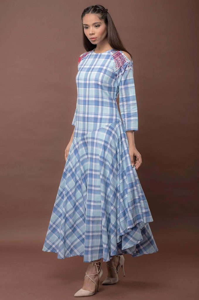 COLD SHOULDER~ CHECKS DRESS - The Ethnic Fix - Dubai - UAE
