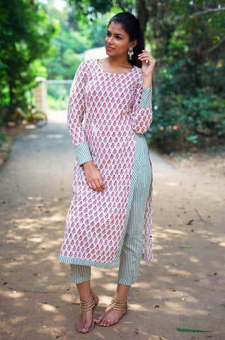 Block Print High Slit Kurta with Pants  - The Ethnic Fix - Dubai - UAE