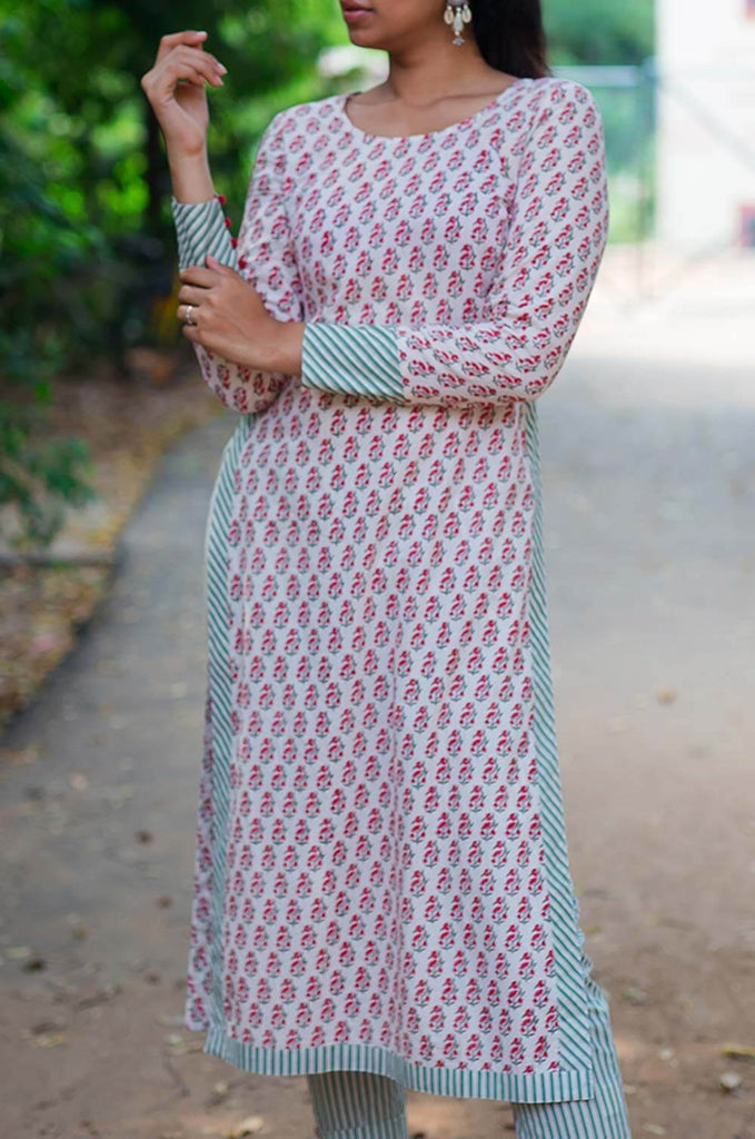 Block Print High Slit Kurta - The Ethnic Fix - Dubai - UAE