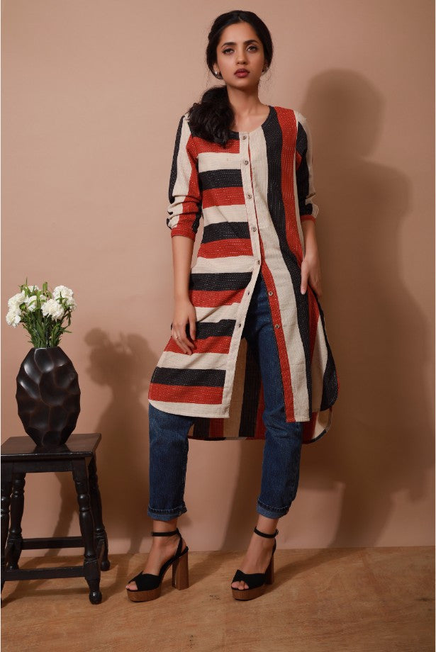 Embroidered Block Print Tunic With Pockets - The Ethnic Fix - Dubai - UAE