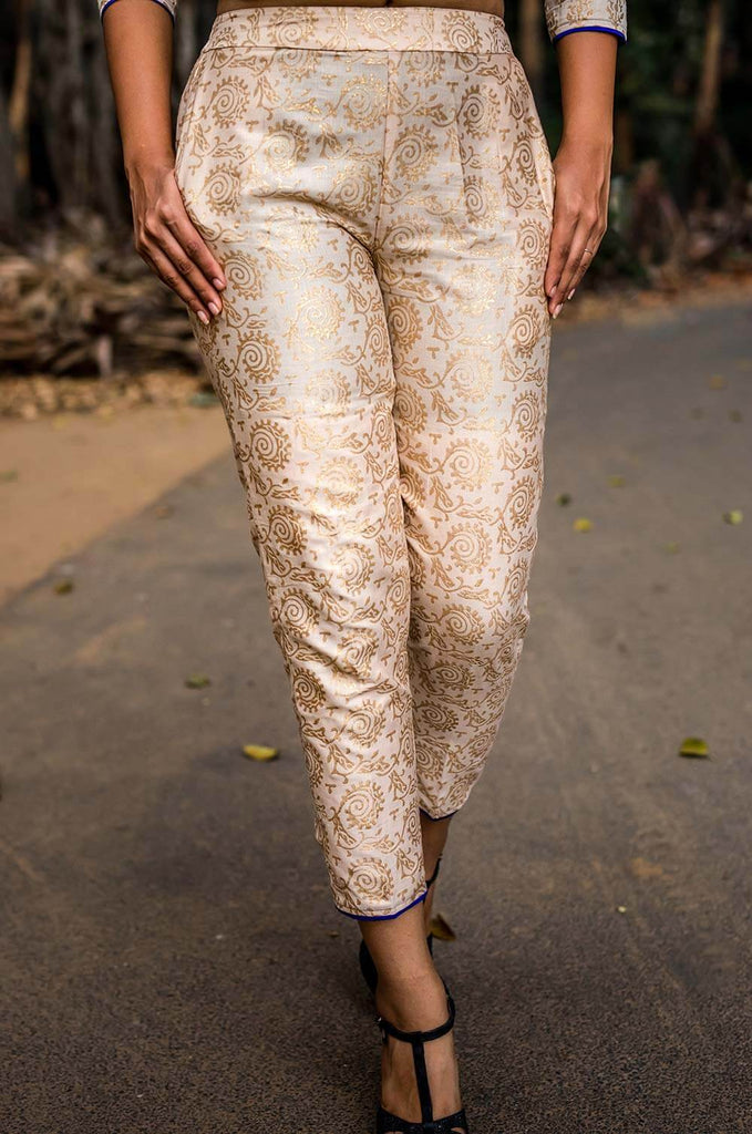 Gold Print Royal Pants - The Ethnic Fix - Dubai - UAE