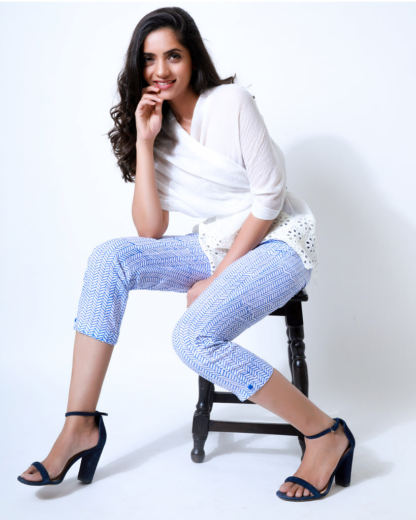 Zigzag Block Print Pants - The Ethnic Fix - Dubai - UAE