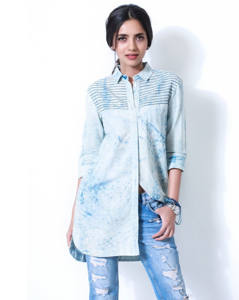 Indigo Birdie Long Shirt - The Ethnic Fix - Dubai - UAE