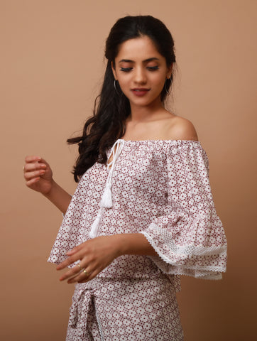 Block Print Off-Shoulder Top - The Ethnic Fix - Dubai - UAE