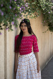 Gold and White Skirt with Pink Top - The Ethnic Fix - Dubai - UAE