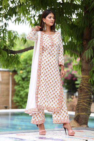 Orange Blockprint Kurta Palazzo Set