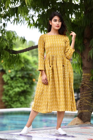 Mustard Kantha Dress
