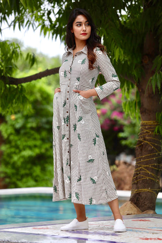 Green Jute Cotton Maxi