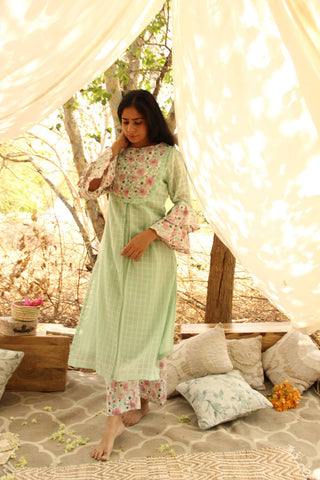 Florid Frill Kurta with slip - The Ethnic Fix - Dubai - UAE