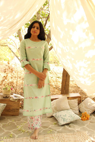 Mint Flush Kurta set   - The Ethnic Fix - Dubai - UAE