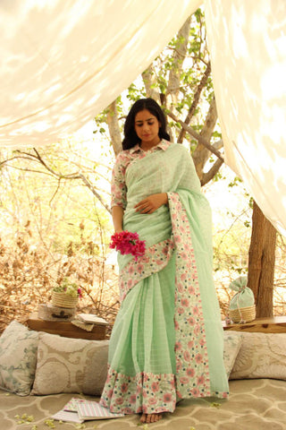 Mint Yard Saree  - The Ethnic Fix - Dubai - UAE