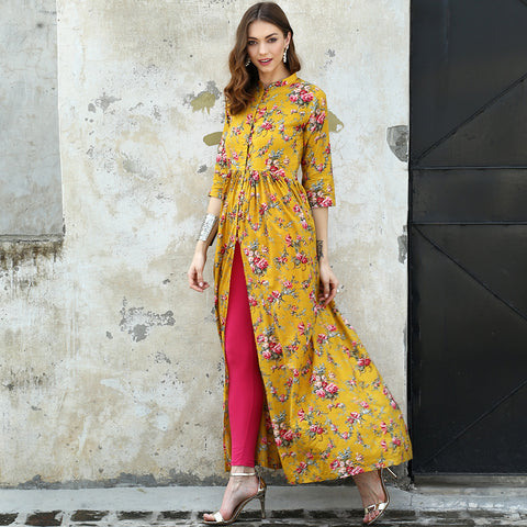 Marigold Printed Cape - The Ethnic Fix - Dubai - UAE