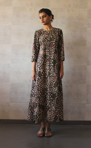 Black Printed Long Dress - The Ethnic Fix - Dubai - UAE