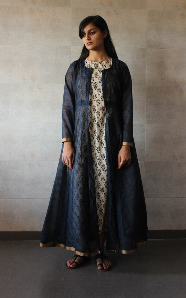 Navy blue Chanderi Cape - The Ethnic Fix - Dubai - UAE
