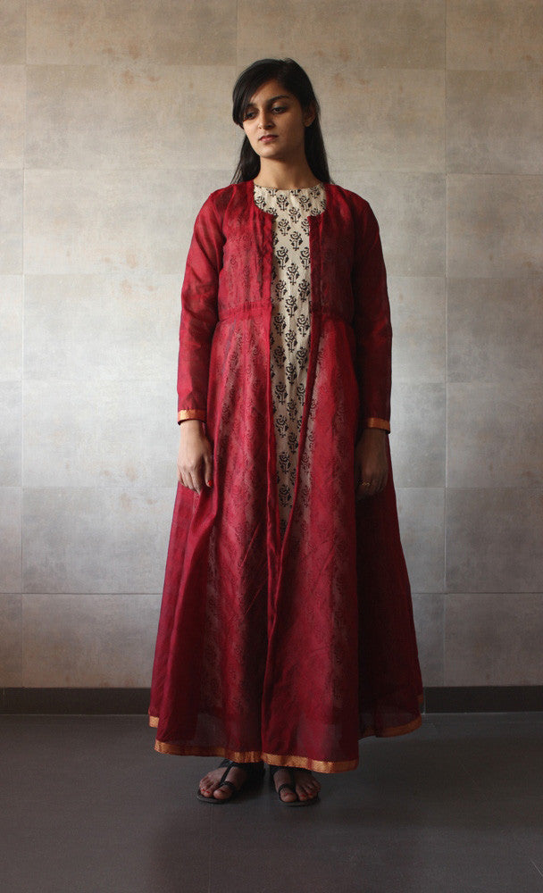 Red Chanderi Cape - The Ethnic Fix - Dubai - UAE