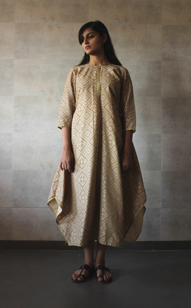 Beige Chanderi Printed Dress - The Ethnic Fix - Dubai - UAE