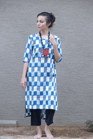 Ikat Side Button Kurta - The Ethnic Fix - Dubai - UAE