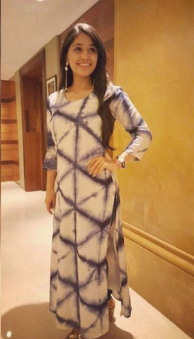 Blue Zig Zag Kurta - The Ethnic Fix - Dubai - UAE