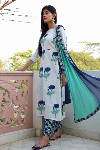 Blue Mogra Kurta Set