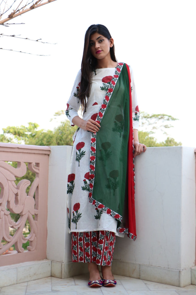 Red Mogra Kurta Set