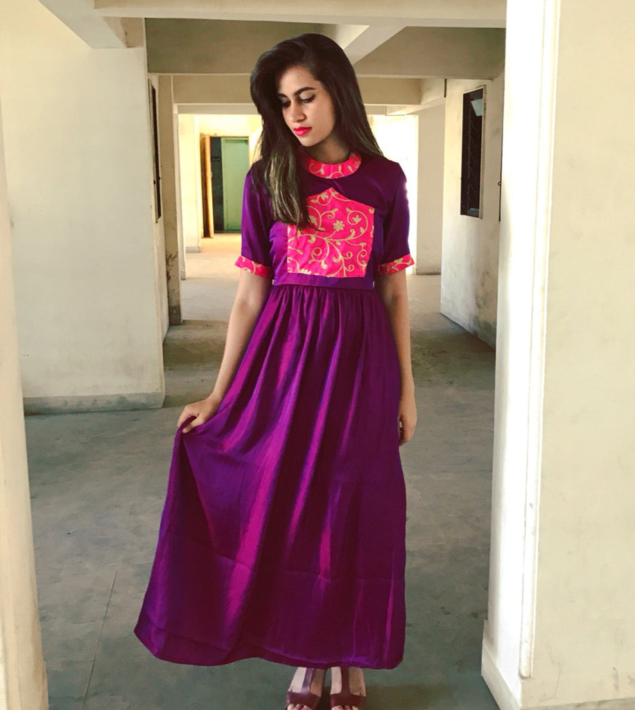 Purple Semi Cage Dress - The Ethnic Fix - Dubai - UAE