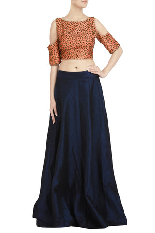 Peach Salli Work Crop Top with Navy Blue Lehenga - The Ethnic Fix - Dubai - UAE