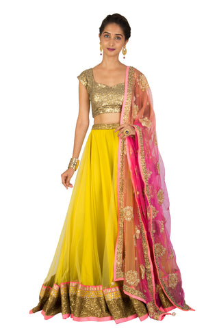 Mustard Net Lehenga Set - The Ethnic Fix - Dubai - UAE