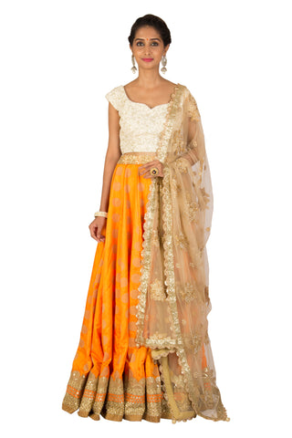 Orange georgette Lehenga set