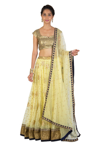Lemon Yellow net Lehenga set - The Ethnic Fix - Dubai - UAE