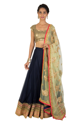 Navy Blue Net Lehenga set