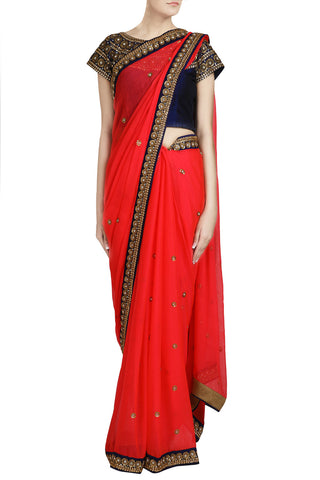 Coral Saree with Kundan Work - The Ethnic Fix - Dubai - UAE
