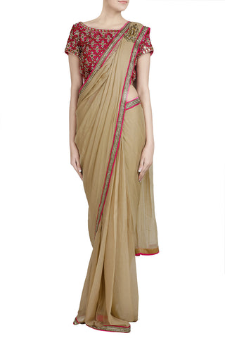 Golden Shimmer Pre-stitched Saree with Kundan Work - The Ethnic Fix - Dubai - UAE