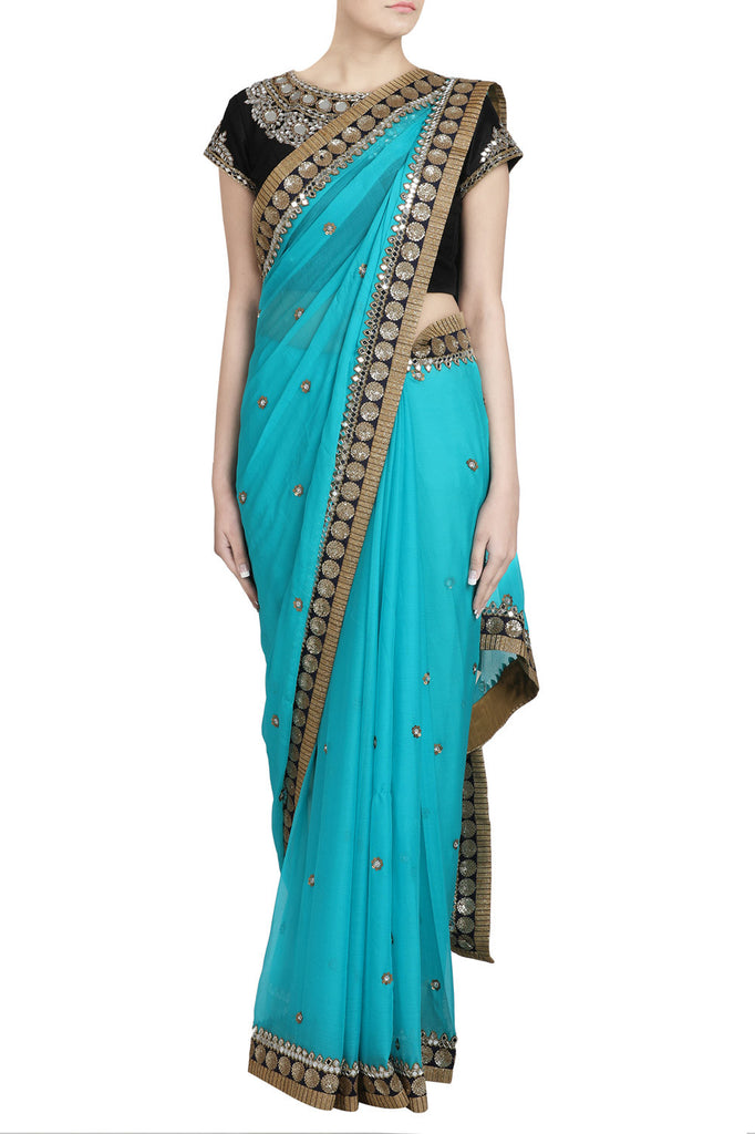 Blue Saree With Sequin & Mirror Work - The Ethnic Fix - Dubai - UAE