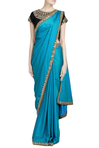 Blue Saree With Mirror Work - The Ethnic Fix - Dubai - UAE