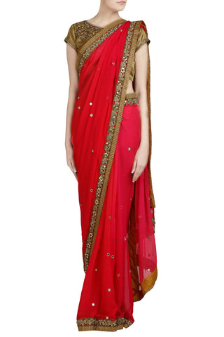 Deep Pink Ombre Saree with Mirror Work - The Ethnic Fix - Dubai - UAE