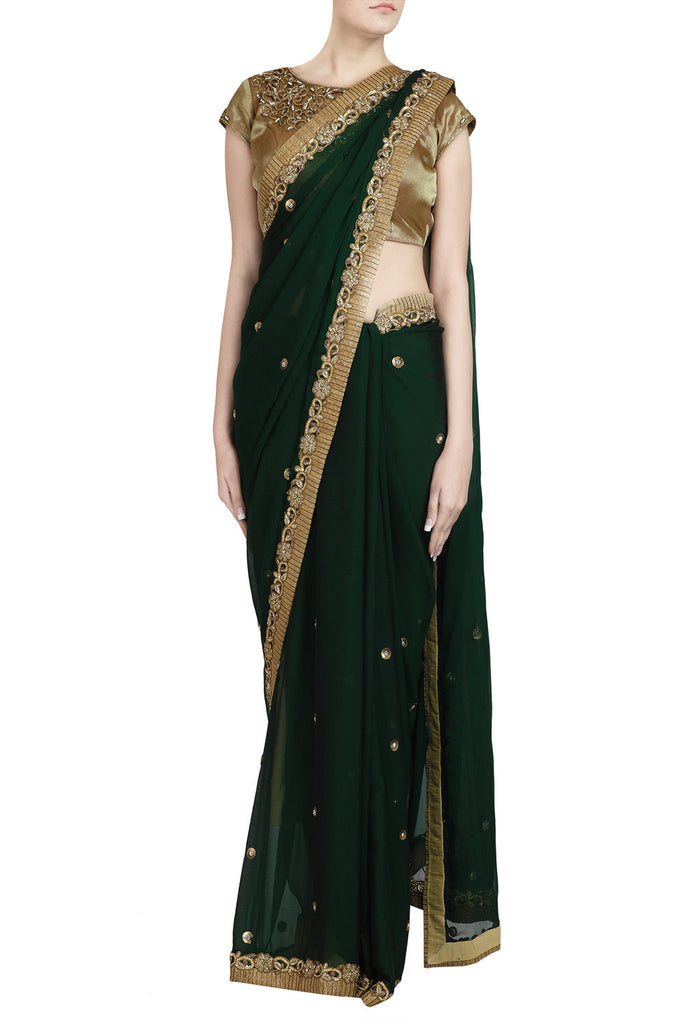 Emerald Saree with Sequin Zardozi Work - The Ethnic Fix - Dubai - UAE